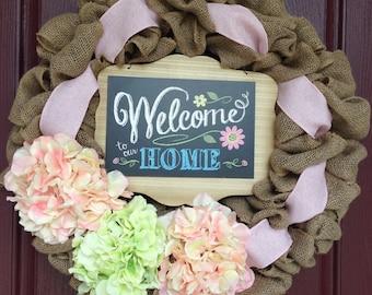 Spring Wreath, Summer Wreath, Burlap Wreath Pink, Pink Burlap Wreath, Burlap Wreath Welcome, Hydrangea Wreath, Pink Hydrangea Wreath