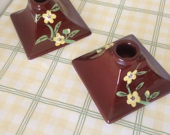 Vintage Rare Pair Of WEIL WARE of California Candle Holders--Brown Gloss Background W/ Hand Painted Raised Yellow Flowers/Blossoms