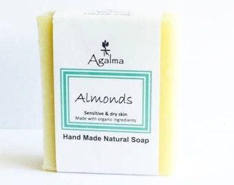 Almond Soap, Vegan Soap, Natural Soap, Cold Procees Soap, Organic Soap, Handmade Soap, Bar soap, 5 onz. Aprox