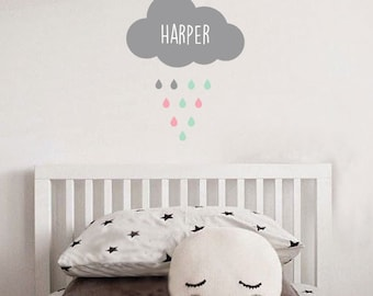 Cloud Wall Decal,  Rain Drops Wall Decal, Removable Vinyl Decal, Personalized Kids Bedroom Wall Sticker