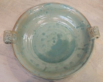 Pottery Bowl, Handmade Ceramic Bowl, Handthrown Stoneware, Unique Kitchenware, Small Serving Bowl, Turquoise Bowl with Handles