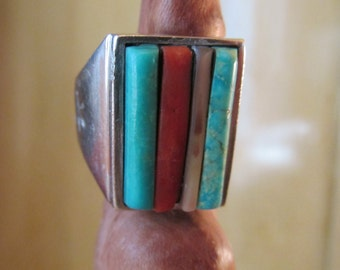 Vintage Multistone and Silver Native American Ring
