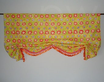 Shaped London Window Valance with Trim Faux Shade