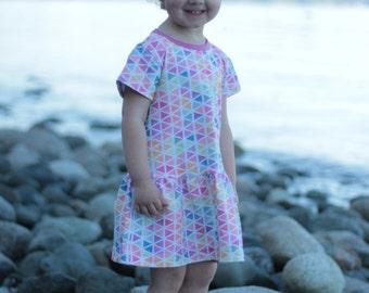 Toddler Summer Dress,,Drop Waist, Watercolour Triangles, Cotton Dress