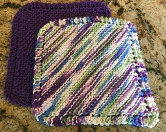Handmade knit pair of dishcloths - beautiful colors