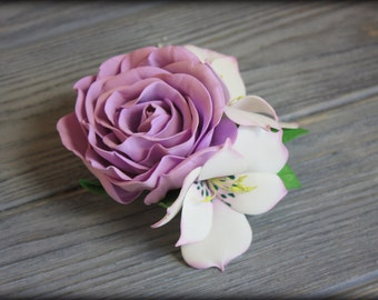Hair clip - brooch with violet rose and alstroemerias