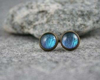 Leaf print Stud Earrings, real leaf, 12 mm bronze flower earring, stud earring in blue, floral earrings, handmade earrings, and Aqua colors