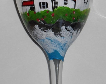 Lighthouse Wine Glass, lighthouse art, hand painted wine glass, Maine art, lighthouse wine glasses, lighthouse on sturdy 10.5 oz wine glass