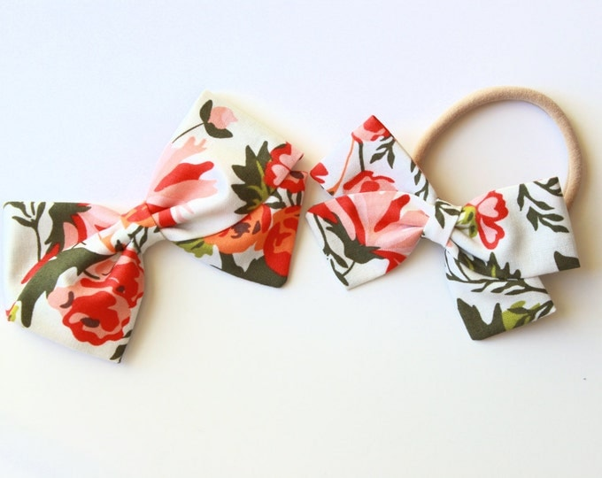 Fall Hair Bows - Floral Hair Bow - Alligator Clips or Nylon Headbands