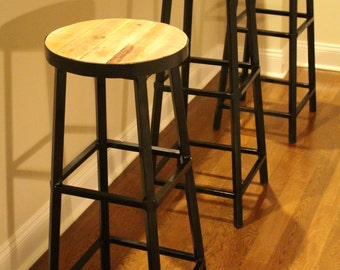 Steel Bar Stools with Reclaimed Wood Top