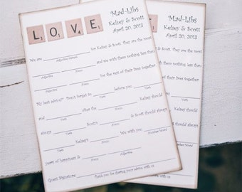 """Wedding Guest Book Alternative Mad-Lib Cards - Set of 50 - Scrabble """"LOVE"""" Cards"""