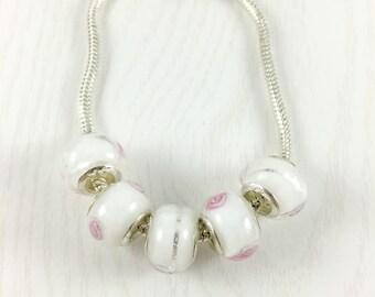 Set of 5 White European Beads, Rose European Bead, Large Hole Beads, European Charm Beads, European Bracelet, Jewelry Making, EB1204