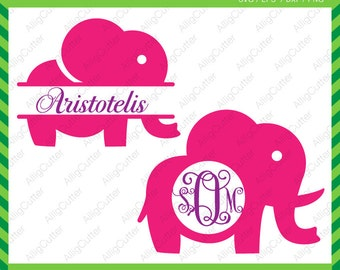 Elephant Monogram Split frame SVG DXF PNG eps animal Cut Files for Cricut Design, Silhouette studio, Sure Cuts A Lot, Makes the Cut and more