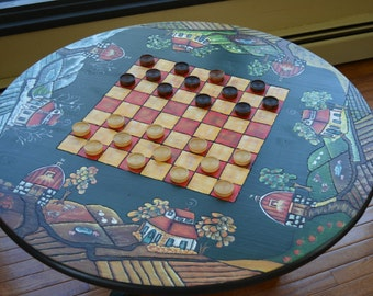 Table, checker board table, coffee table, game table
