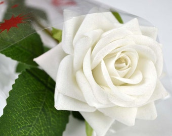 Handmade Beautiful Valentines Single Silk White Artificial Rose
