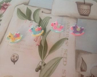 Patchwork Rocking Horse Ring, Fairy Kei, Decora, Sweet Lolita