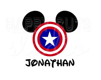 Personalized Captain America Mickey Mouse with Shield and Star Classic Super Hero Matching Family Disney Iron On Decal Vinyl for Shirt 066