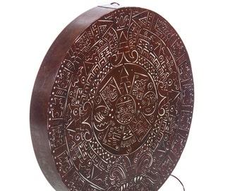 Mexican Aztec Calendar sheet metal back lit wall decoration lamp handmade plasma cut - Restaurant & Home decor