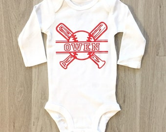 Baseball baby boy or toddler bodysuit - personalized bodysuit
