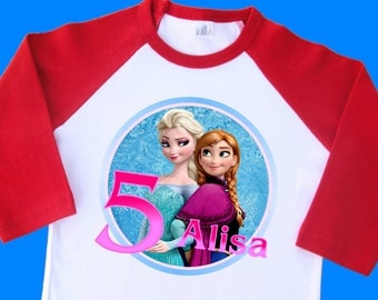 Frozen Elsa and Anna Birthday Shirt. Personalized Raglan with Name & Age. 1st 2nd 3rd 4th 5th 6th 7th 8th 9th 10th Birthday T Shirt (35044)