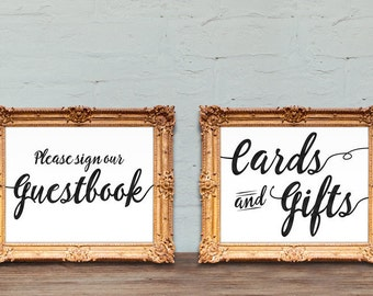 Wedding guestbook and Cards and Gifts signs - PRINTABLE 8x10 - 5x7