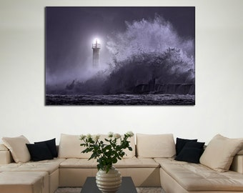 Lighthouse Canvas - Waves Home Decor, Modern Art Print