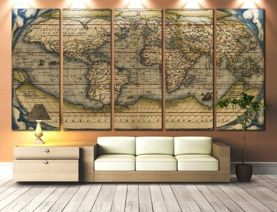 LARGE Wall Art World Map Canvas Print Vintage World Map Print