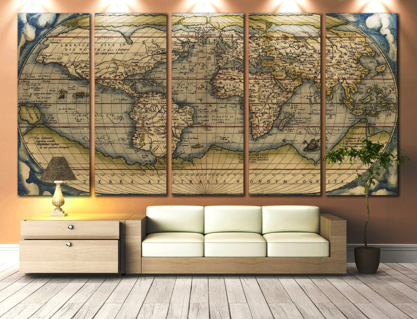 Large Vintage Wall Decor : Large wall art world map canvas print vintage