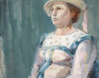 Gouache painting vintage impressionist woman portrait