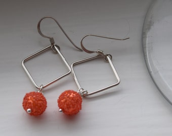 Sweet coral silver earrings