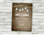 Couples Shower Invitation, Rustic String Lights, Vintage Paper, Bridal Shower, Mason Jars, Baby Shower, Digital, Printable