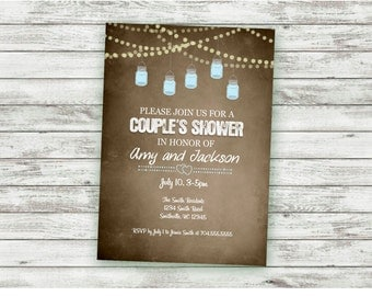 couples shower invitation rustic string lights vintage paper bridal shower mason jars
