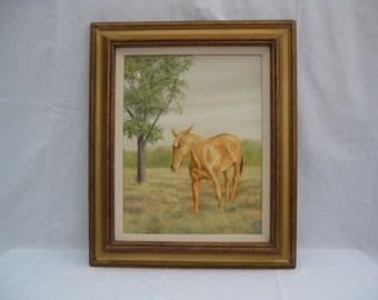 Framed oil painting - horse