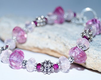 Pink Quartz, Rose Quartz, Rhodolite Garnet and Sterling Silver Bracelet