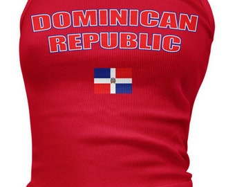 Dominican Republic Bold Ladies Juniors Tank Top, Dominican, Republica Dominicana, DR, Ladies Juniors Dominican Soccer Tank Tops AMD_DOM_08