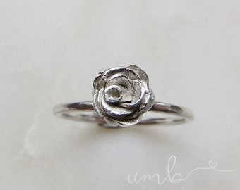 Sterling Silver Mini Rose Ring UK Size M *Ready to Ship*