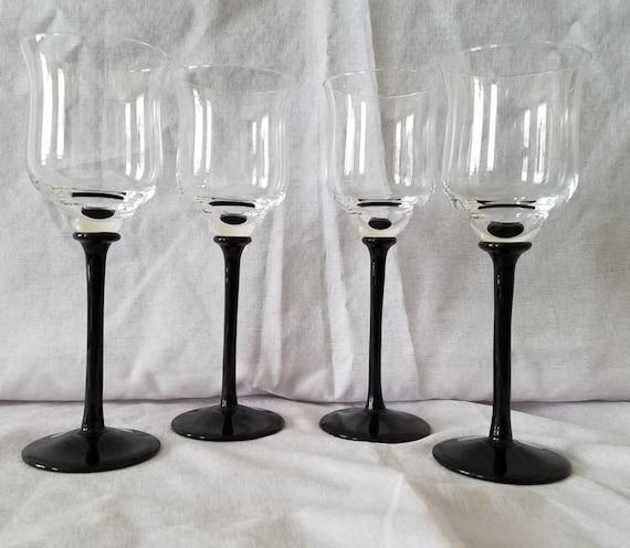 items similar to set of 4 black long stem wine glasses on etsy. Black Bedroom Furniture Sets. Home Design Ideas