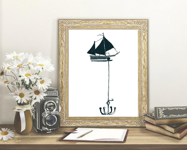 Anchor Wall Decor Nursery : Deep green boat with anchor wall art printable boy nursery