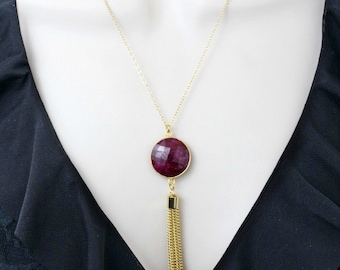 Ruby Necklace, Extra Long Necklace, Tassel Necklace, Boho Necklace, Pendant Necklace, Gold Necklace, Gift for Her, July Birthstone, Mothers