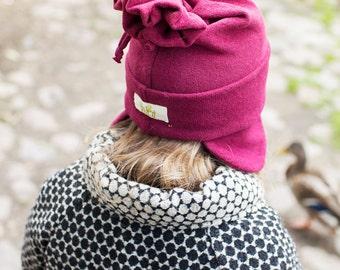 Girl beanie and scarf - Girl cotton skull cap - Stylish winter beanie - Girl beanie and scarf set - Girl Christmas gift - 2015R-111
