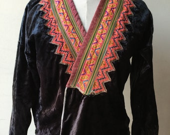 Vintage Blue Hmong jacket embellished with appliqué, reverse appliqué, and embroidery on velvet