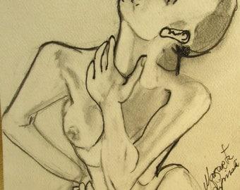 Pencil original of figurative female.