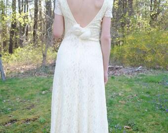 Vintage White Dress, 90s Dress, Ivory, Cream, Lace Dress, Rose Detail, Low Back, Size Small/Medium, Wedding Dress, Bridesmaid, Prom Dress