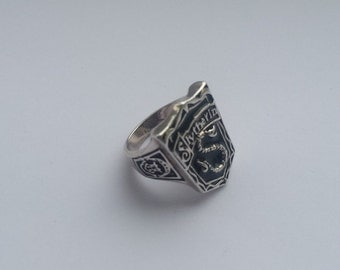 Slytherin crest ring antique silver with black enamel