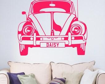Personalised Name VW Beetle Car Boys Girls Vinyl Wall Art Sticker Decal Living Room Hallway Kitchen Teen Bedroom