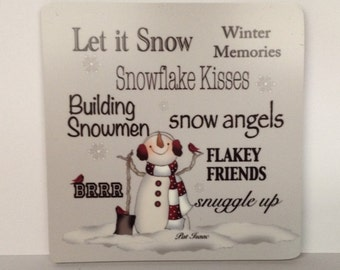 Winter Words Magnet, Snow Lover, Snowman Magnet, Winter Lover Magnet, Snowman Words Magnet, Winter Refrigerator Magnet, Flakey Friend Magnet