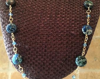 Blue Jasper and Swarovski Crystal Necklace