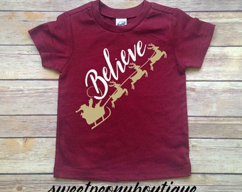 Kid's Christmas Shirt - Reindeer Shirt for Christmas - Baby Christmas Tee - Believe in Santa Christmas Shirt - Toddler Reindeer Shirt