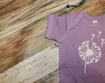 Dandelion Fly Away Purple Onesie Glitter Girl Baby Shower Gift Shirt