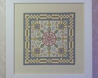 Cross Stitch PDF Pattern Rose des Voyelles Sampler